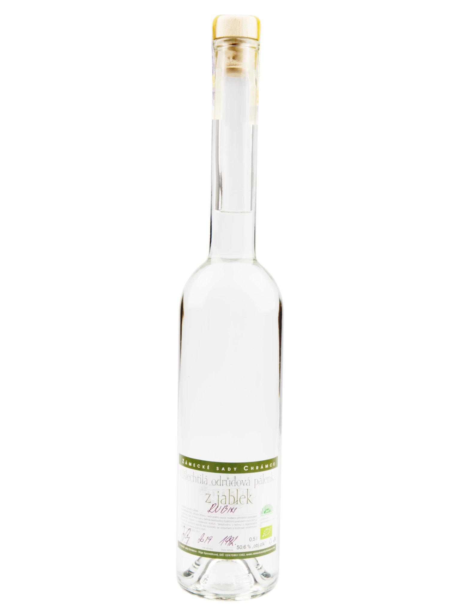 Levně Zámecké sady Chrámce BIO Pálenka z jablek odrůdy Rubín 50,6% 0,5l