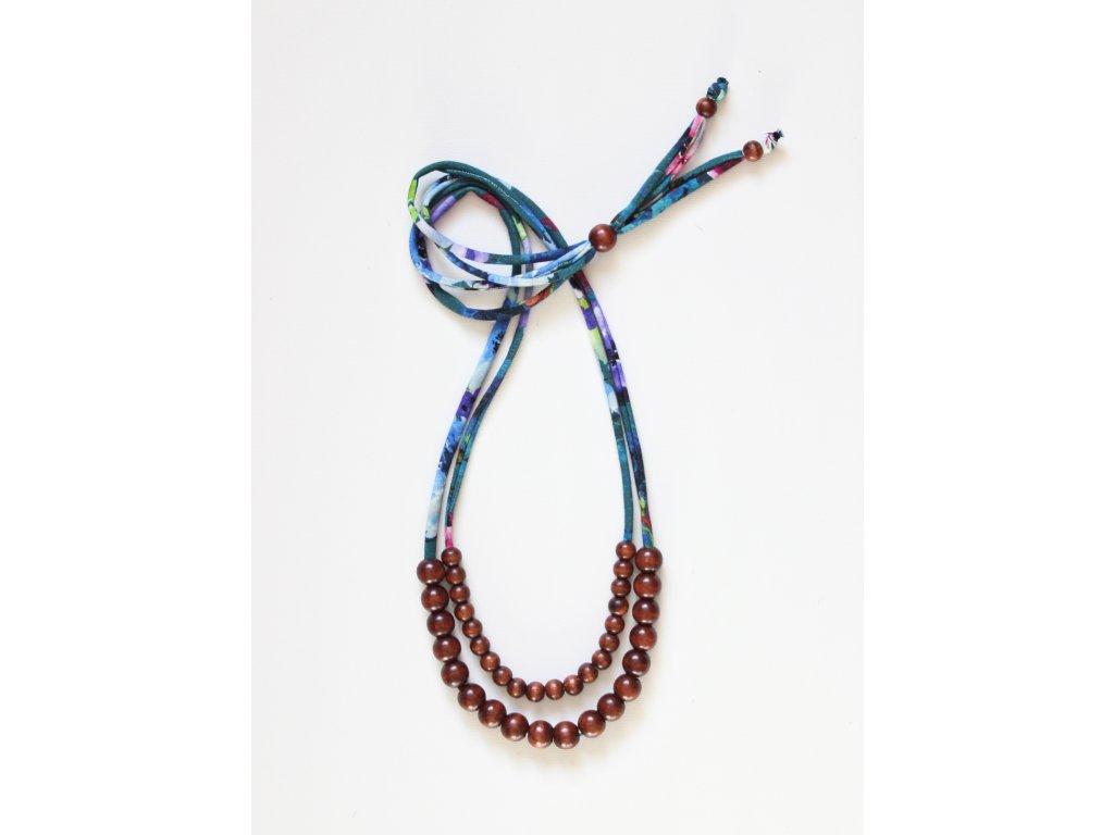 Korálkový náhrdelník dvojitý KVĚTY SMARAGDOVÉ + HNĚDÉ PERLIČKY
