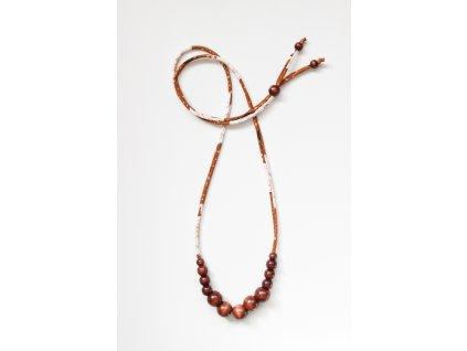 Korálkový náhrdelník KVĚTY HOŘČICOVOHNĚDÉ + HNĚDÉ PERLIČKY