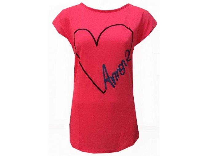Růžové dámské triko s potiskem srdce