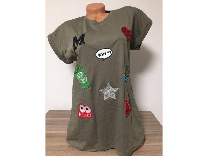Prodloužené dámské triko s nášivkami, velikost XS-L