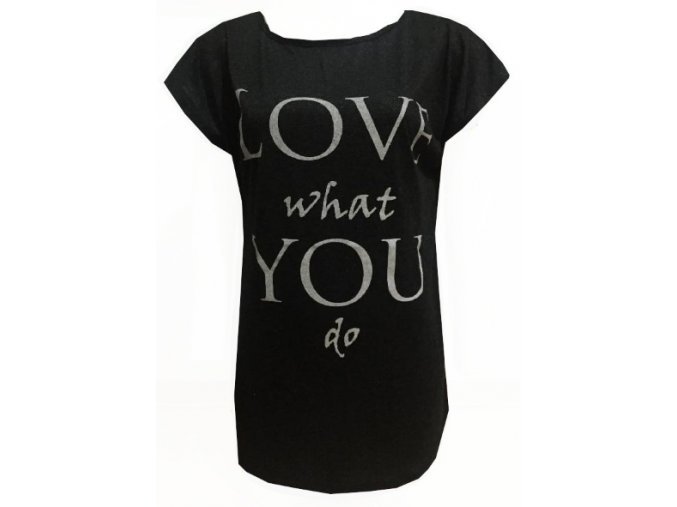 Černé dámské třpytivé triko Love