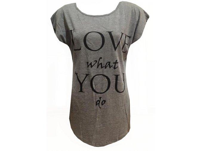 Světle šedé dámské triko Love