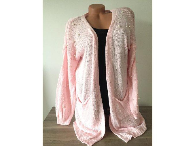 Italy Světle růžový cardigan Perla, velikost univerzální
