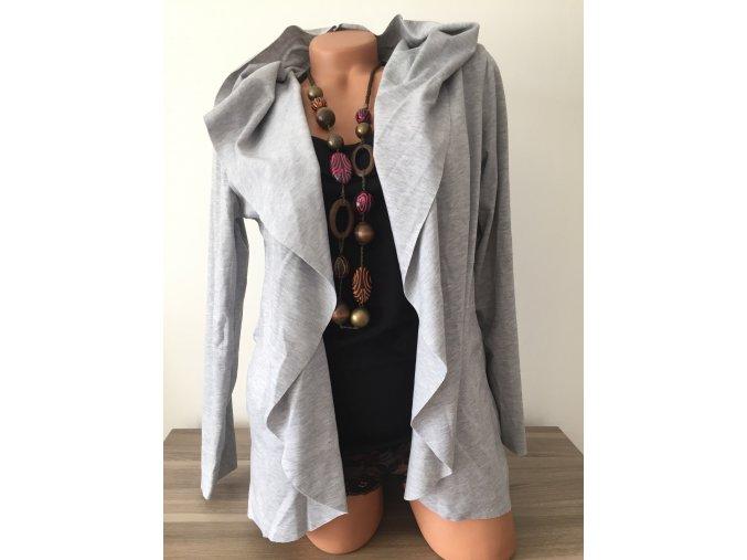 Lehký šedý cardigan s kapucí