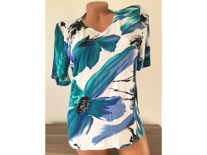 Bílá dámská halenka s modrozeleným vzorem