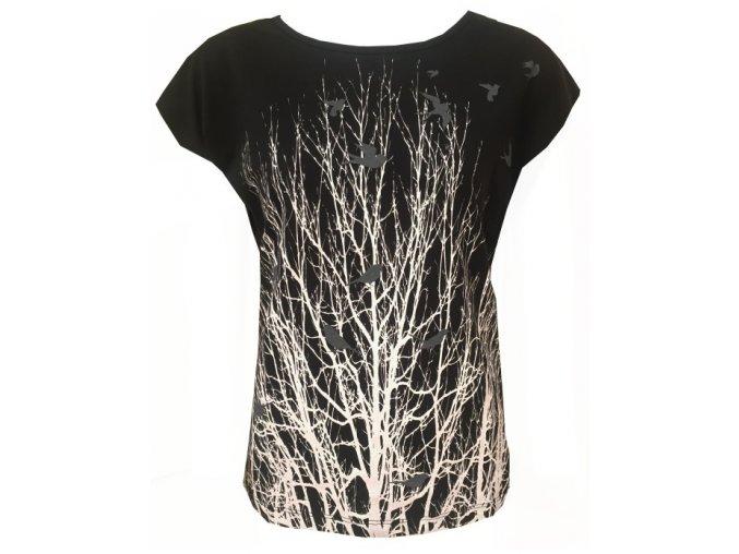 Černé dámské triko s ptáčky