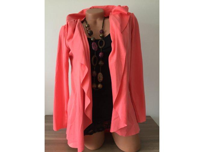 Lehký korálový cardigan s kapucí, velikost univerzální