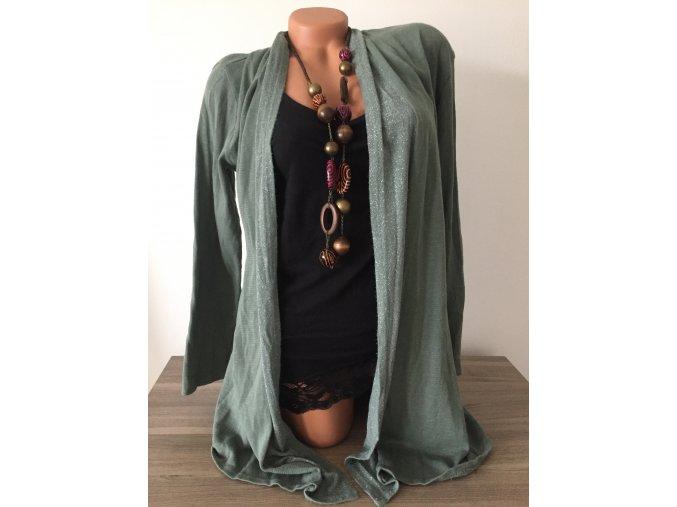 Italy Khaki prodloužený tenký dámský cardigan, velikost univerzální