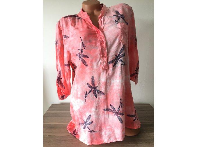 Zdobená dámská růžová košile/halenka