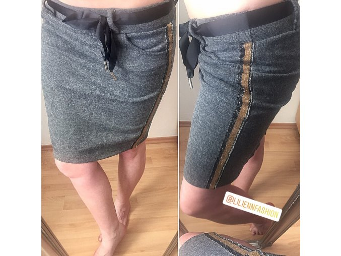 Tepláková sukně se třpytivým pruhem Filatore Italy