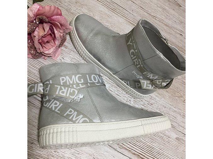 Šedostříbrné zdobené kotníkové boty, vel.37