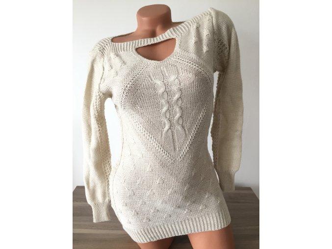 Vzorovaný dámský svetr s průstřihem u krku