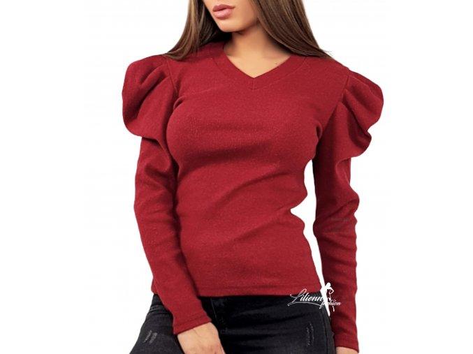 Dámský tmavě červený/bordó svetr s nabíranými rukávy, velikost univerzální