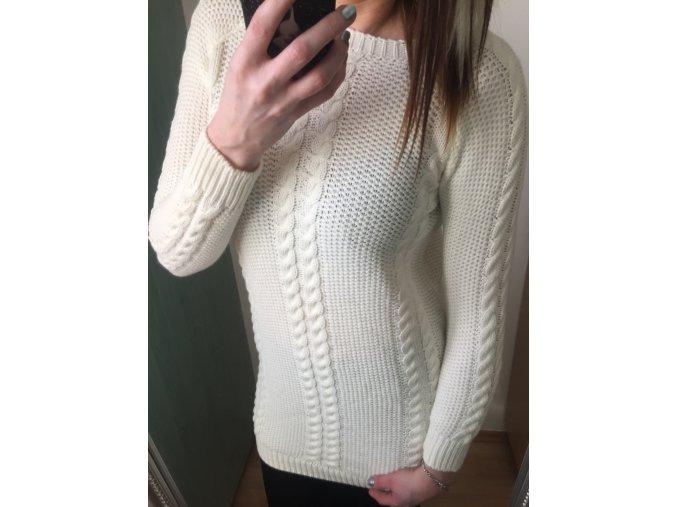 Dámský prodloužený bílý svetr s copánkovým vzorem