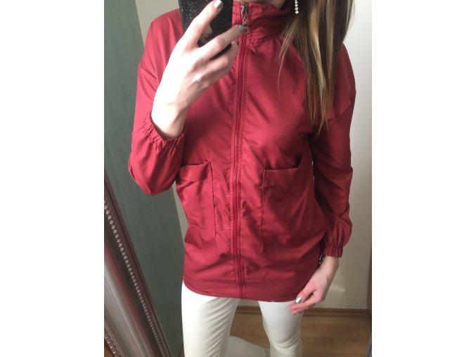 Dámská tenká prodloužená červená bunda s kapsami, velikost univerzální