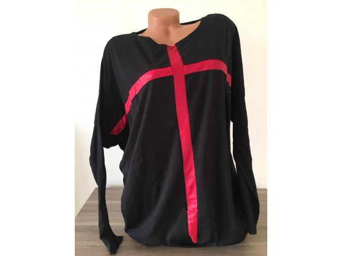 Dámské černé prodloužené triko/tunika/halenka s červeným potiskem, velikost univerzální