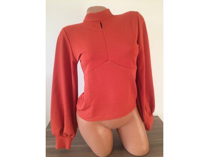 Dámské cihlově červené silnější triko/halenka