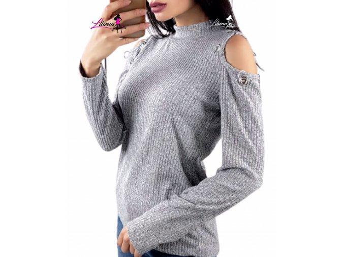 Dámské barevné slabší svetr/silnější triko s holými rameny