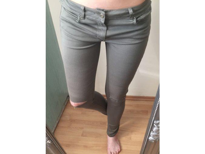 Dámské trhané khaki skinny džíny