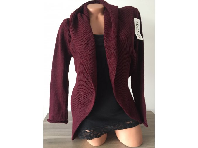 Italy Tmavě červený/vínový/bordó teplý svetr/cardigan s kapucí, velikost univerzální