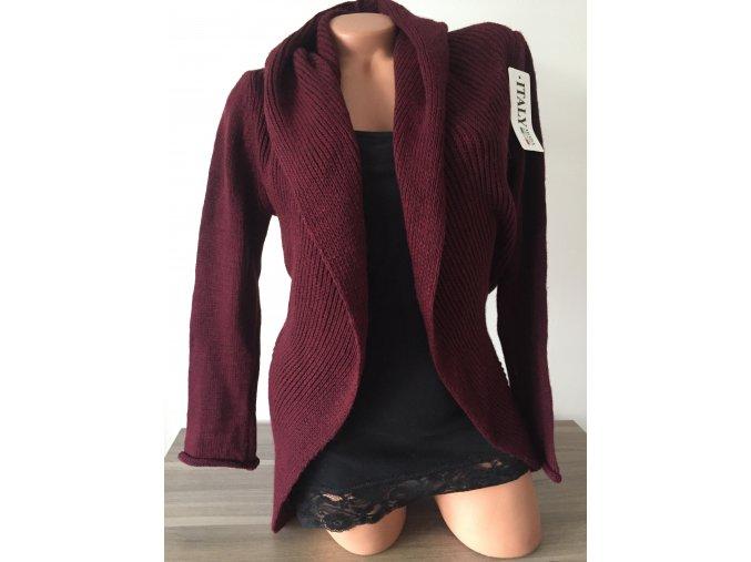 Tmavě červený/vínový/bordó teplý svetr/cardigan s kapucí Italy