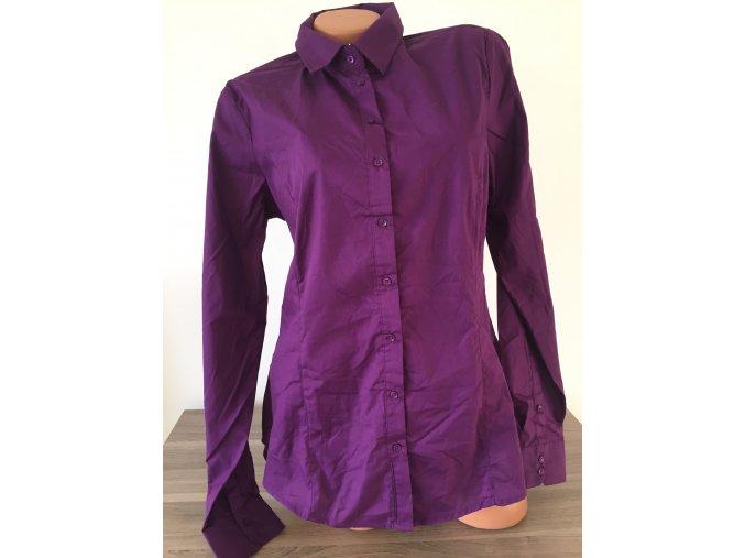 Prodloužená fialová dámská košile, velikost L