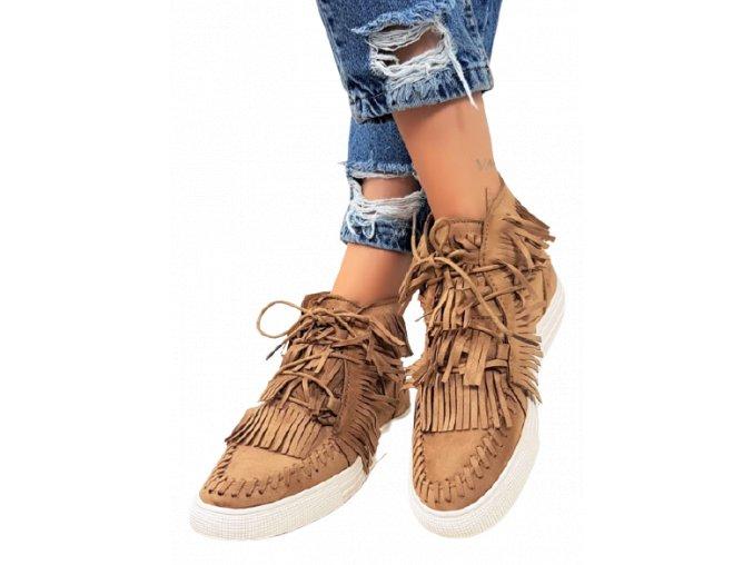 Dámské béžové kotníkové boty se střapci, vel.39