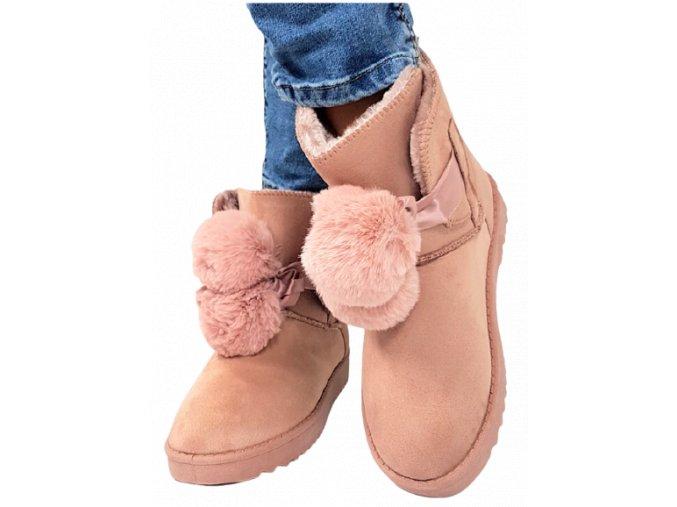 Dámské růžové boty/huculky s bambulkami, vel.40