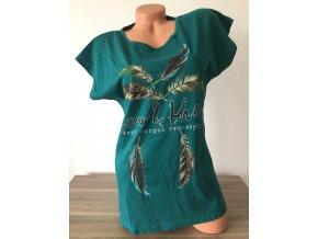 Tmavě zelené dámské triko s potiskem