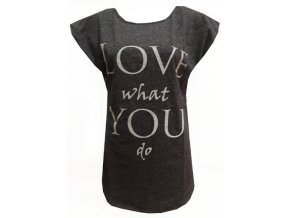 Tmavě šedé dámské triko Love