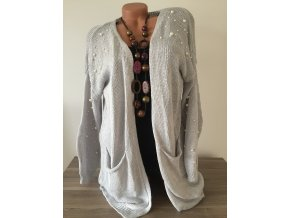 Barevný teplý cardigan s perlami