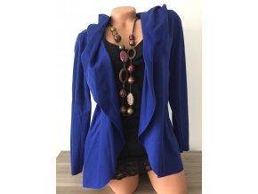 Lehký modrý cardigan s kapucí, velikost univerzální