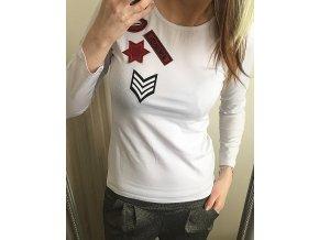 Bílé dámské triko s nášivkami, velikost univerzální