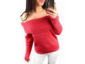 Červený dámský crop svetr s límcem Collar, velikost univerzální