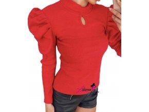 Dámský červený svetr/silnější triko s nabíranými rukávy