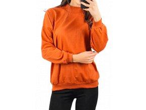 Dámská cihlově oranžová mikina se stojáčkem, velikost univerzální
