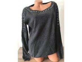Tmavě šedý dámský svetr bohatě zdobený kamínky, velikost L