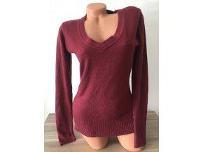 Prodloužený dámský bordó svetr, velikost M