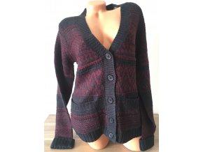 Prodloužený dámský vzorovaný svetr na knoflíky