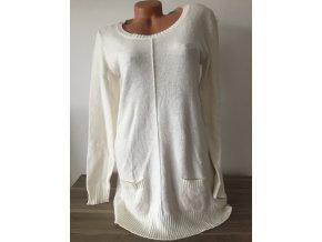 Bílý dlouhý dámský svetr s jemným chloupkem