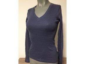 Dámské modré pružné triko s výstřihem