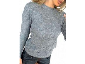 Dámský tenký vzorovaný šedý svetr, velikost univerzální