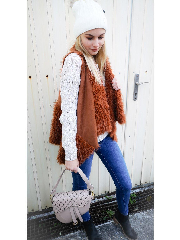 Chlupatá vesta 056, barva hnědá, oranžová, obr. 20