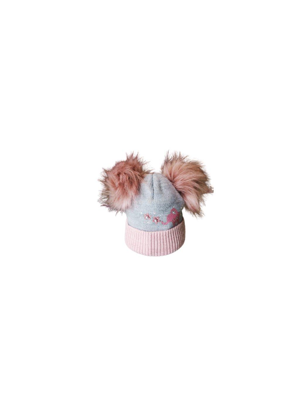 Dívčí čepice 029, barva šedá, růžová, obr. 20