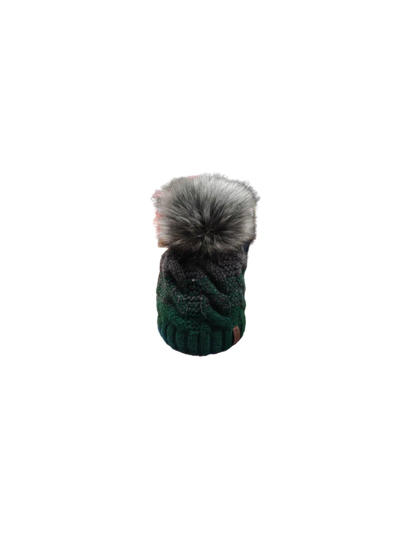 Zimní čepice s bambulí 130, barva zelená, šedá, obr. 20