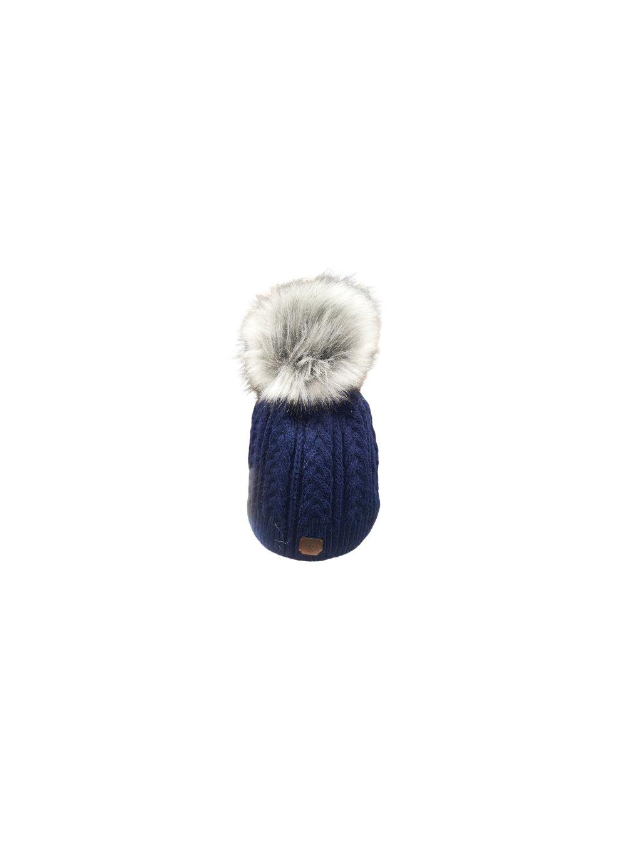 Zimní čepice s bambulí 135, barva modrá, obr. 20
