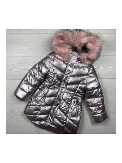 Dívčí zimní bunda 21545 sříbrná