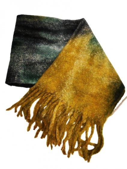 ZIMNÍ VLNĚNÁ ŠÁLA 027, barva zelená, žlutá, obr. 20