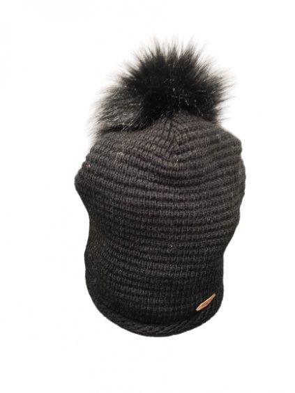 Zimní černá čepice s bambulí 112, barva černá, obr. 20